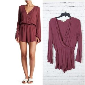 65c351d62410 Love Stitch Long Bell Sleeve Wrap Front Romper